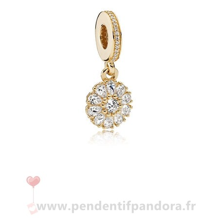 Complet Pandora Pandora Collections Agrementee Floral Dangle Charm 14K Or Clear Cz
