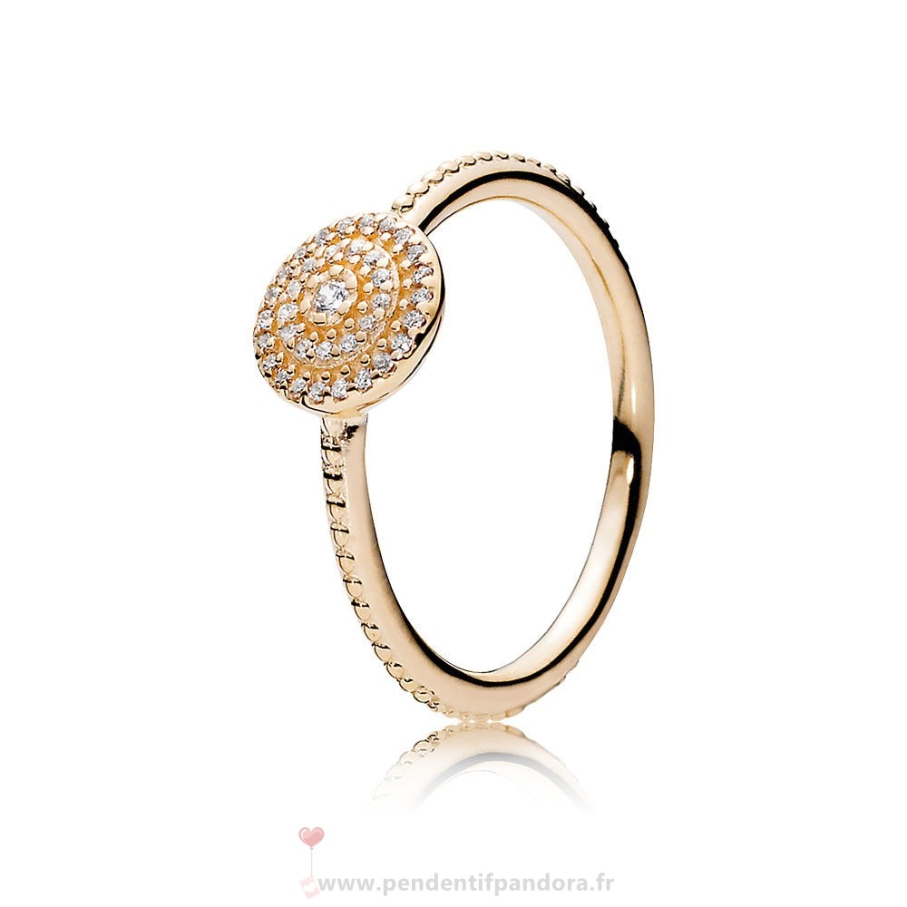 Complet Pandora Pandora Collections Bague Elegance Rayonnante 14K Or Clear Cz