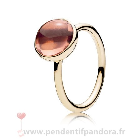 Complet Pandora Pandora Collections Bague Gouttelette Poetique 14K Or Blush Rose Crystal