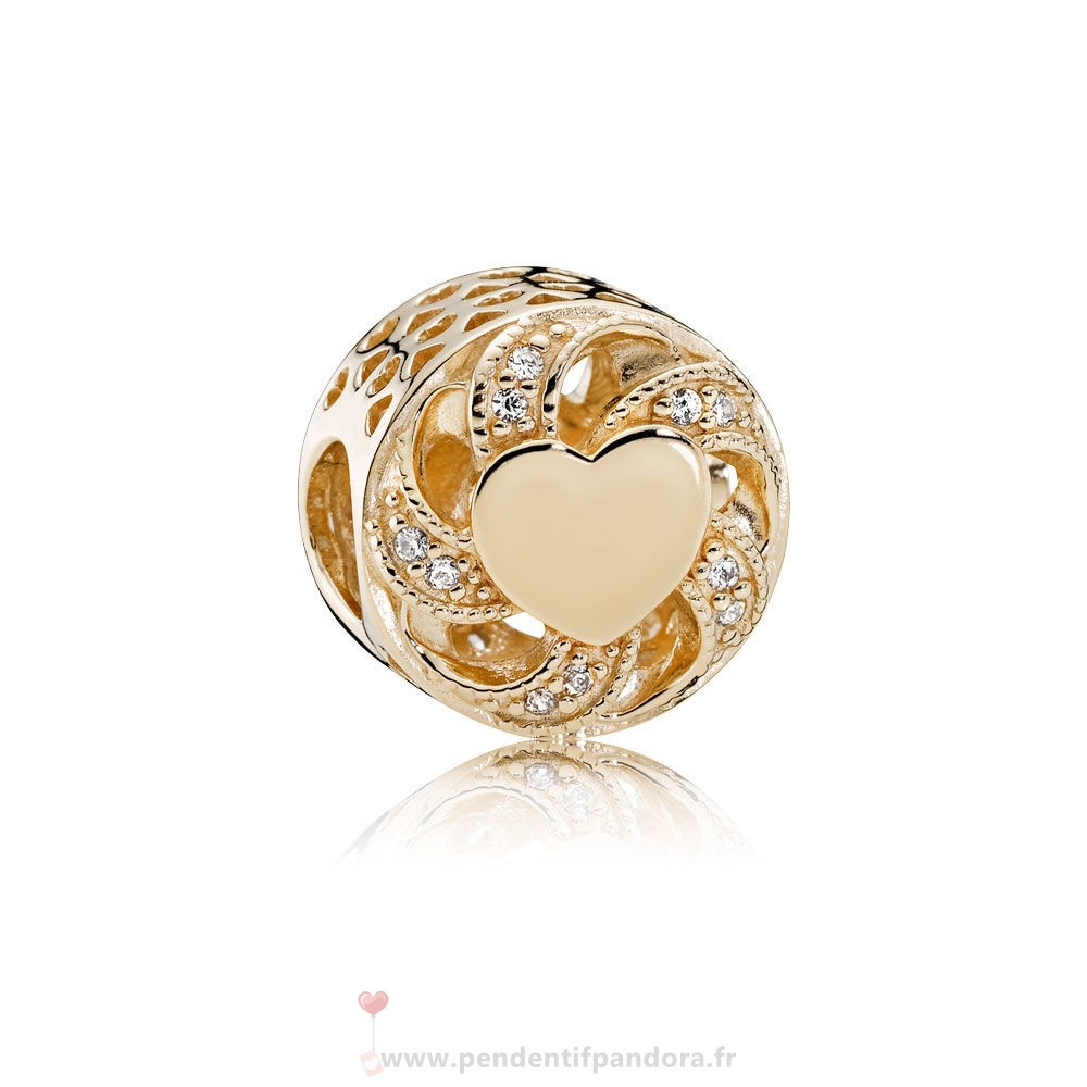 Complet Pandora Pandora Collections Breloque Coeur Coeur 14K Or Clear Cz