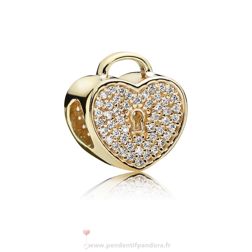 Complet Pandora Pandora Collections Coeur Lock Charm Clear Cz 14K Or