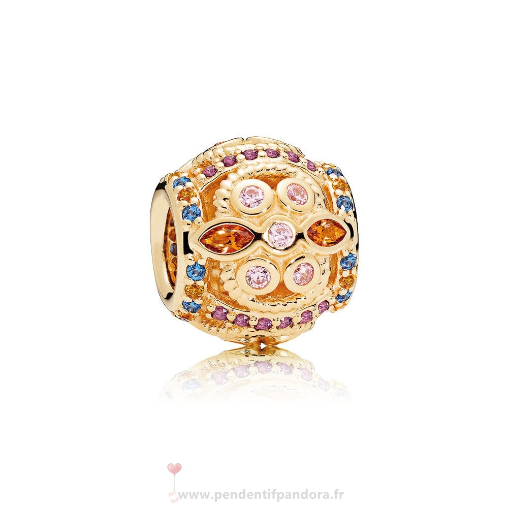 Complet Pandora Pandora Collections Color Fresco Charm 14K Or Cristaux Multicolores Rose Cz