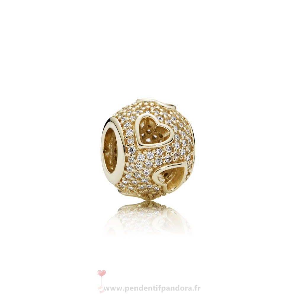 Complet Pandora Pandora Collections Tumbling Coeurs Charme Clear Cz 14K Or