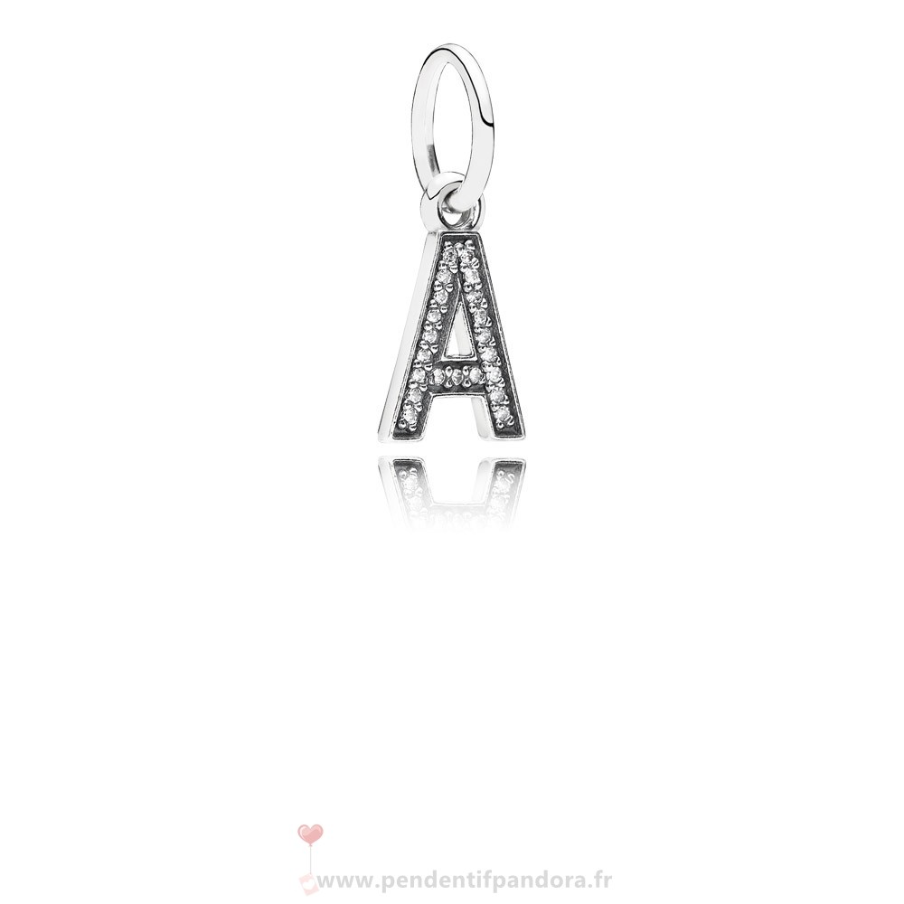 Complet Pandora Pandora Alphabet Symbols Charms Lettre A Dangle Charm Clear Cz
