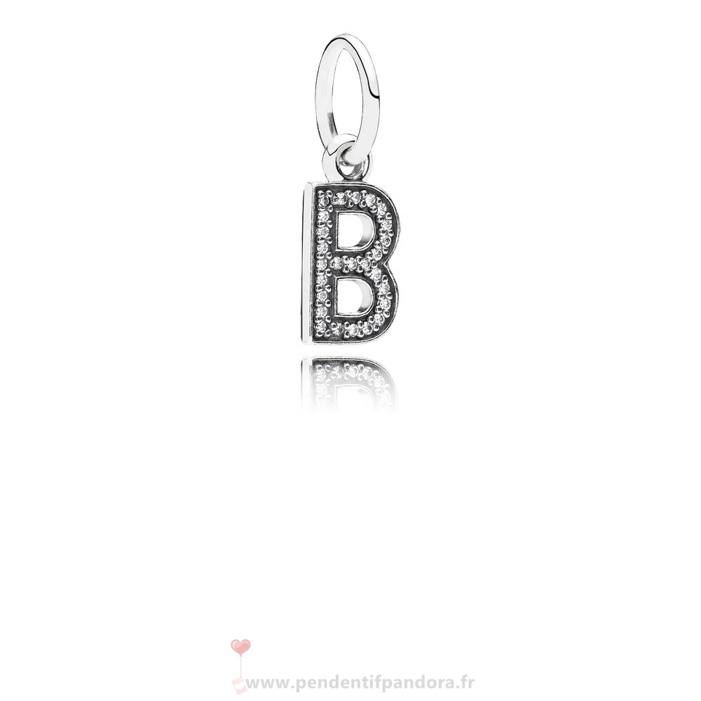 Complet Pandora Pandora Alphabet Symbols Charms Lettre B Dangle Charm Clear Cz