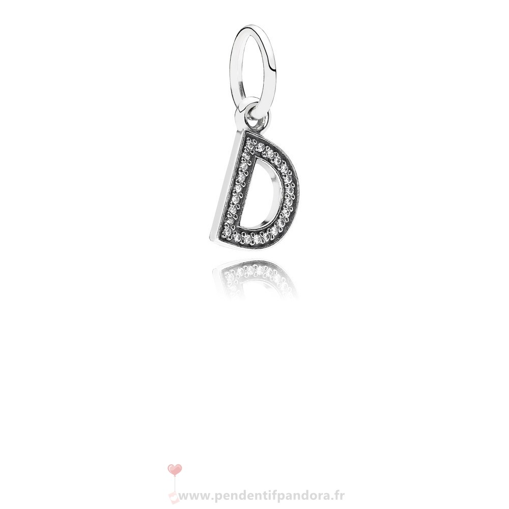 Complet Pandora Pandora Alphabet Symbols Charms Lettre D Dangle Charm Clear Cz