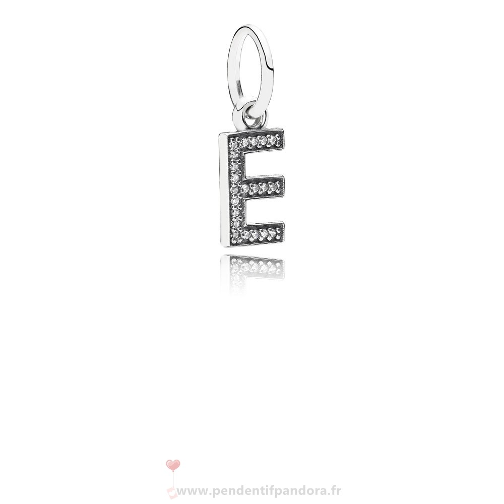 Complet Pandora Pandora Alphabet Symbols Charms Lettre E Dangle Charm Clear Cz