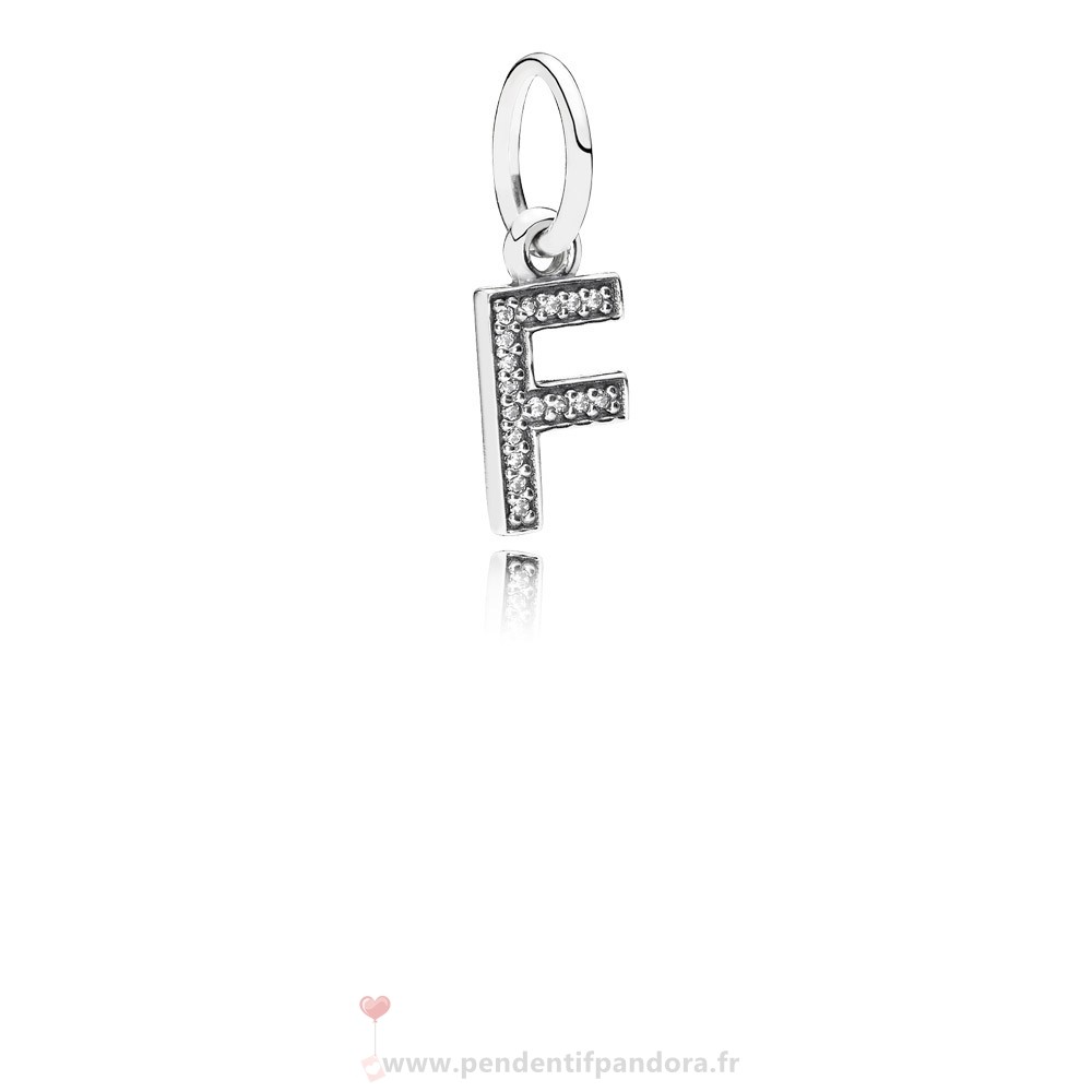 Complet Pandora Pandora Alphabet Symbols Charms Lettre F Dangle Charm Clear Cz