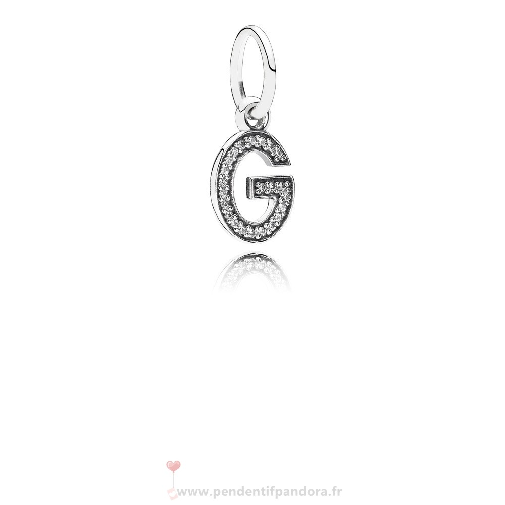 Complet Pandora Pandora Alphabet Symbols Charms Lettre G Dangle Charm Clear Cz