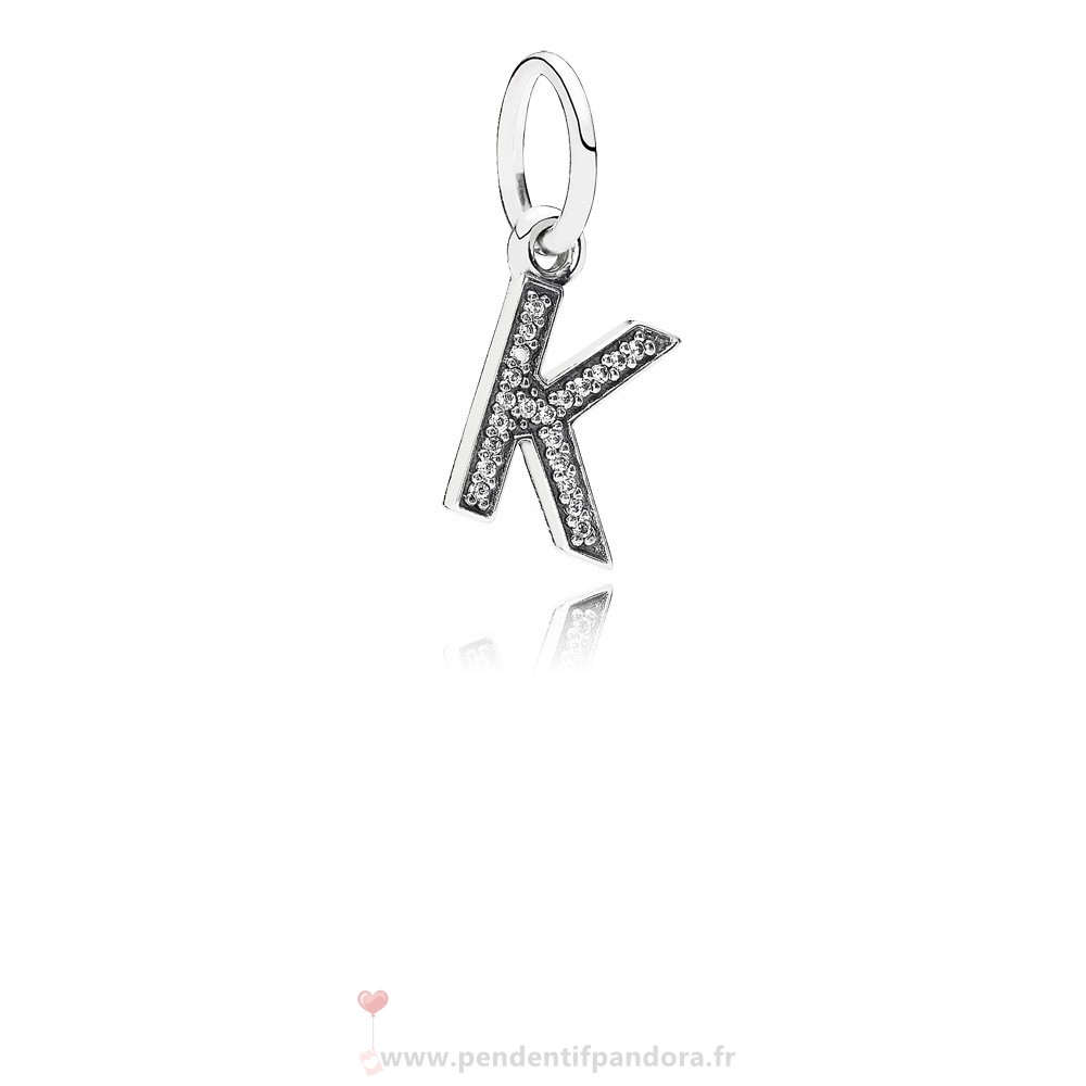 Complet Pandora Pandora Alphabet Symbols Charms Lettre K Dangle Charm Clear Cz