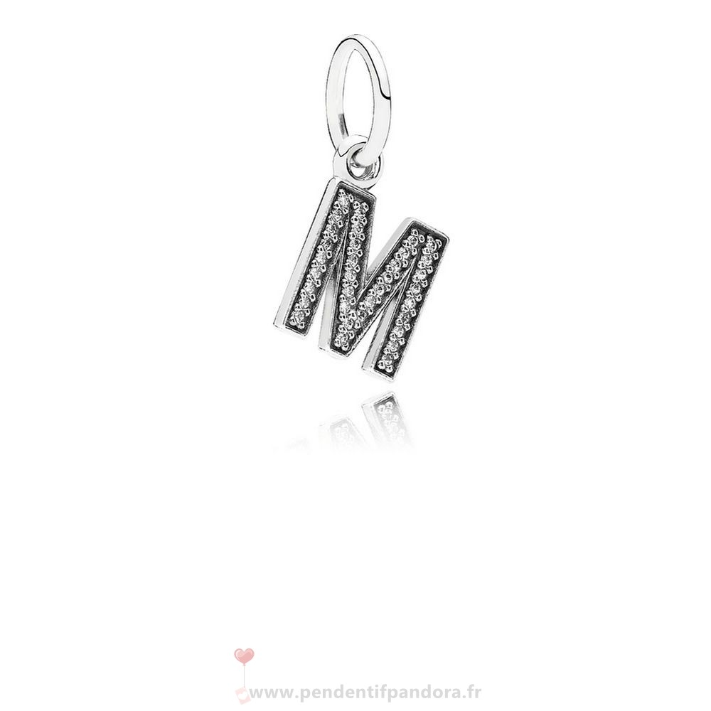 Complet Pandora Pandora Alphabet Symbols Charms Lettre M Dangle Charm Clear Cz