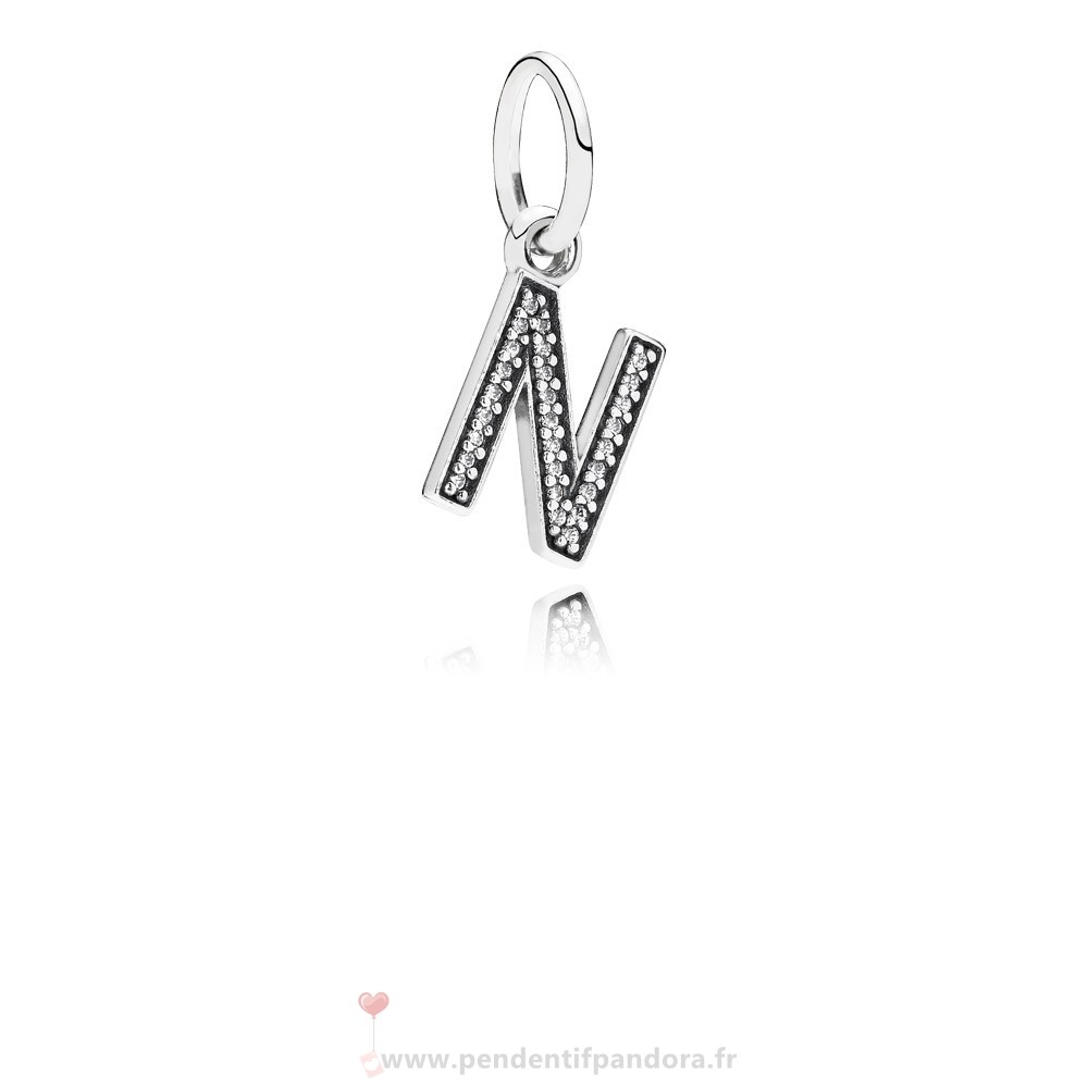 Complet Pandora Pandora Alphabet Symbols Charms Lettre N Dangle Charm Clear Cz