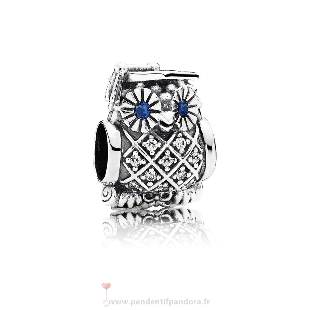 Complet Pandora Pandora Animaux Charms Diplome Owl Swiss Blue Crystal Clear Cz