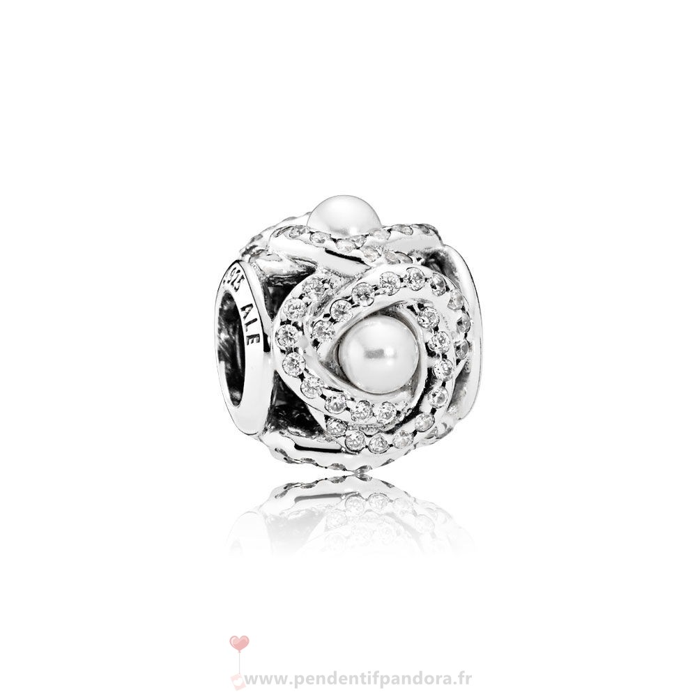 Complet Pandora Pandora Mariage Anniversaire Charms Luminous Amour Knot Blanc Crystal Pearl Clear Cz