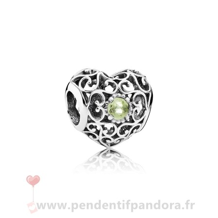 Complet Pandora Aout Signeature Coeur Charme Peridot Prix