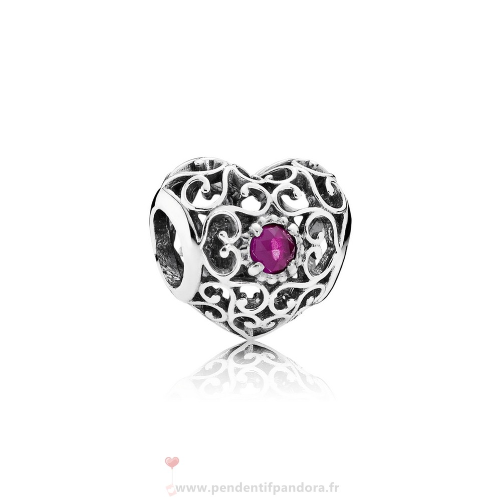 Complet Pandora Juillet Signeature Coeur Charme Synthetic Ruby Prix