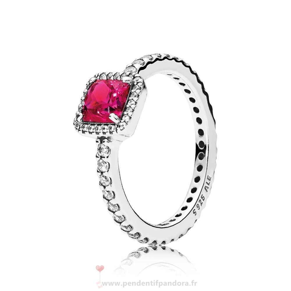 Complet Pandora Pandora Bagues Elegance Intemporelle Synthetic Ruby Clear Cz