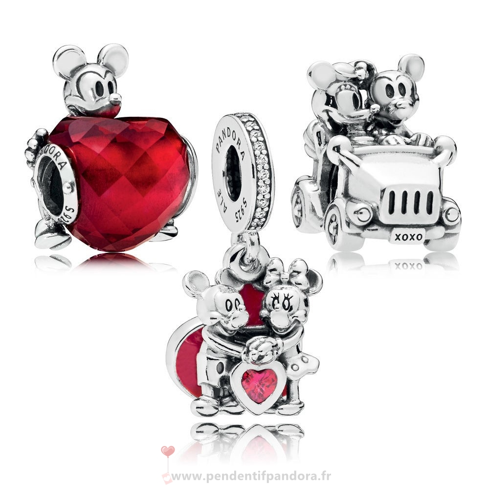 Complet Pandora Disney Mickey Et Minnie Amour Charm Pack