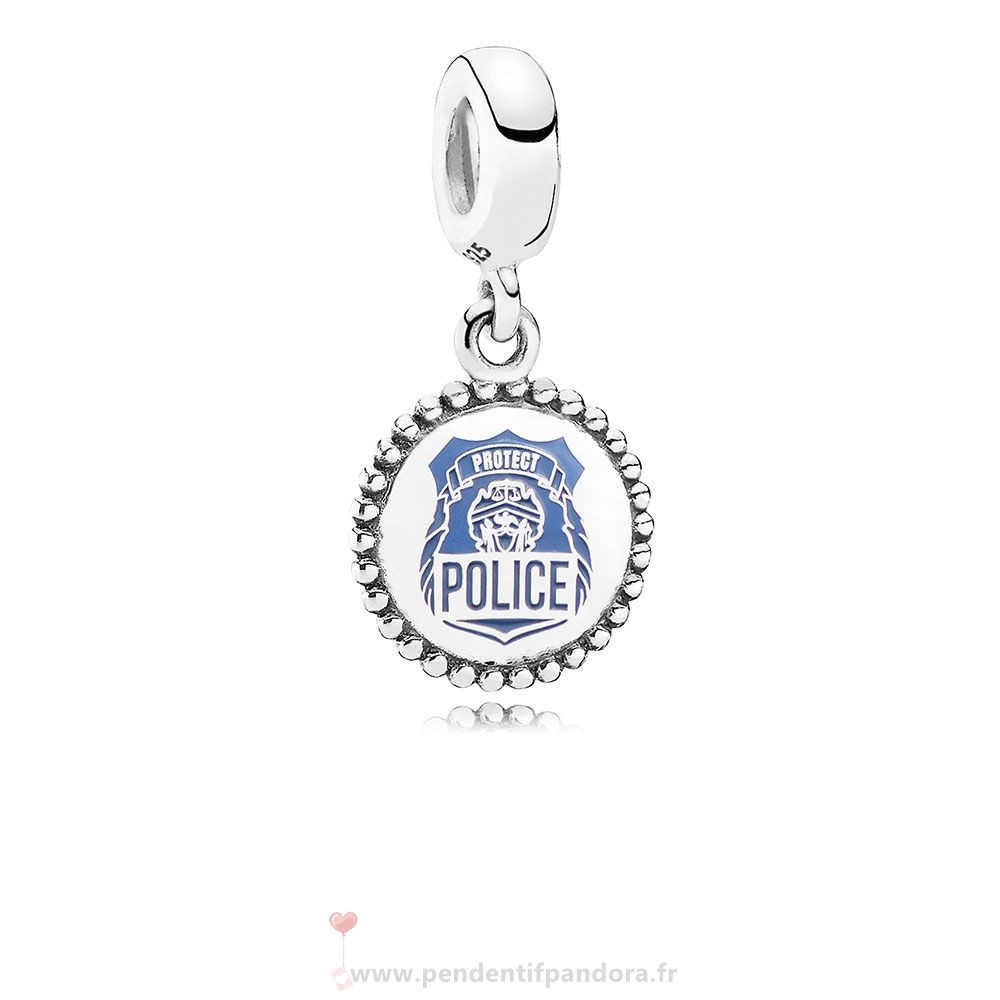 Complet Pandora Police Pendre Charm Bleu Email