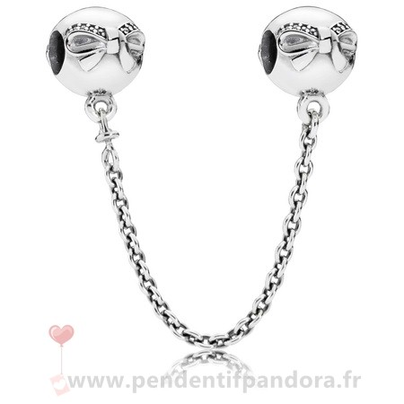 Complet Pandora Pandora Chaines De Securite Dainty Bow Safety Chain Clear Cz