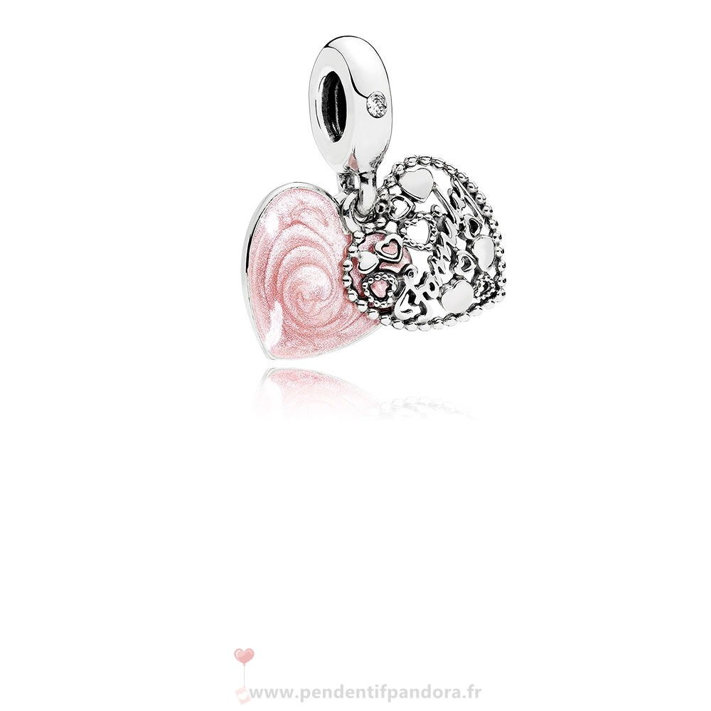 Complet Pandora Dangle Breloques Amour Makes A Dangle Charme Familial Rose Email Clear Cz