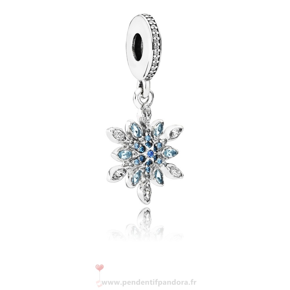Complet Pandora Pandora Dangle Breloques Crystalized Snowflake Dangle Charm Blue Crystals Clear Cz
