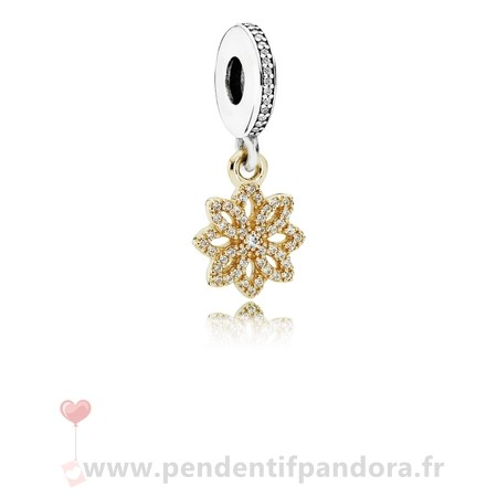 Complet Pandora Pandora Dangle Breloques Dentelle Botanique Dangle Charm Clear Cz 14K Or