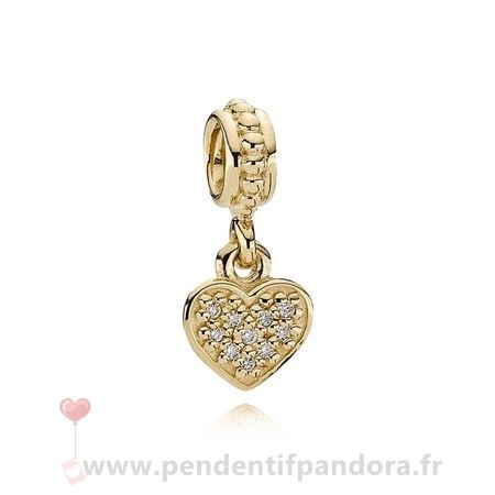 Complet Pandora Pandora Dangle Breloques Pave Pendentif Coeur Dangle Charm 14K Or Diamant