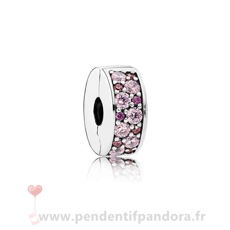Complet Pandora Pandora Charms De Couleur Mosaic Brillant Elegance Clip Fancy Rose Fancy Violet Cz