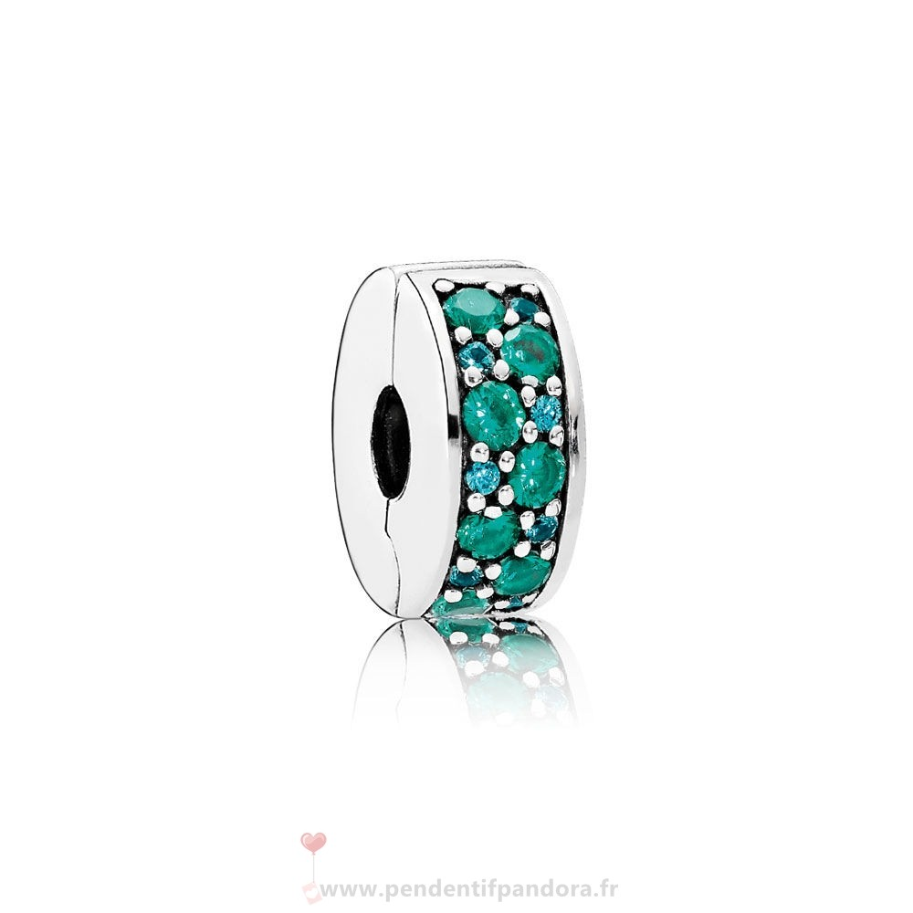 Complet Pandora Pandora Charms De Couleur Mosaique Brillant Elegance Clip Multi Coloured Crystals Teal Cz
