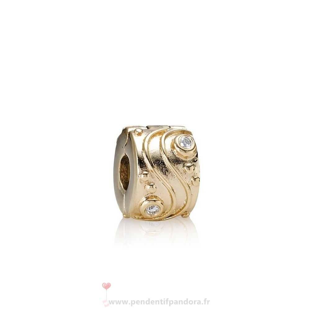Complet Pandora Pandora Clips Breloques Babbling Brook Abstract Gold Clip Diamants