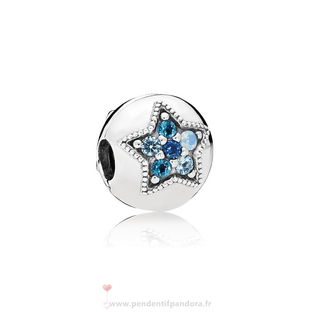 Complet Pandora Pandora Clips Breloques Bright Etoile Clip Multi Coloured Crystals