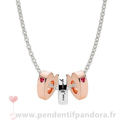 Complet Pandora Pandora Rose Two Hearts Spacer Colliers