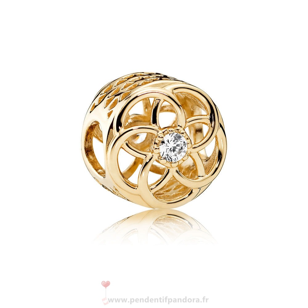 Complet Pandora Pandora Charms Charme Charme Bloom 14K Or Clear Cz