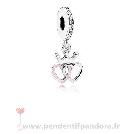 Complet Pandora Pandora Fairy Tale Charms Crowned Coeurs Dangle Charm Orchid Rose Enamel Clear Cz