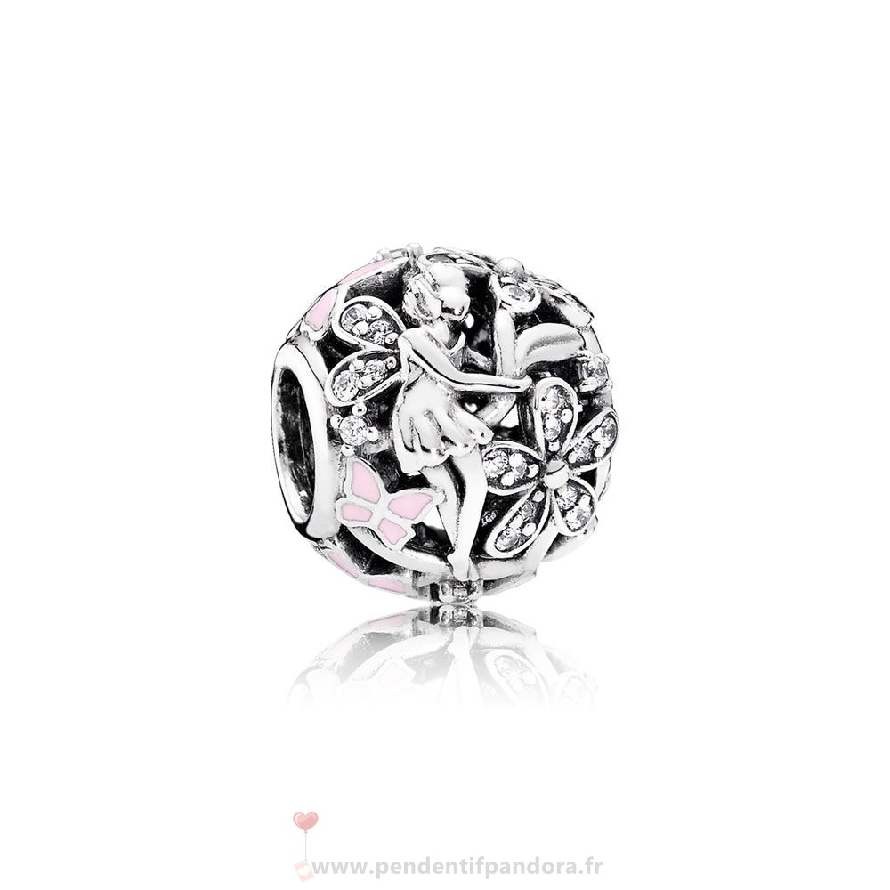 Complet Pandora Pandora Fairy Tale Charms Dazzling Daisy Fairy Lumiere Rose Enamel Clear Cz