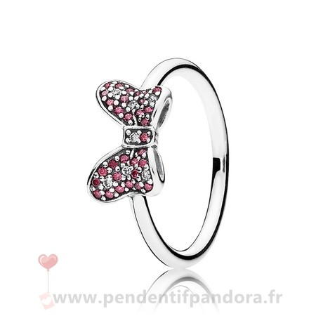 Complet Pandora Pandora Disney Minnie'S Mousseux Bow Bagues Red Clear Cz