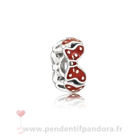 Complet Pandora Pandora Disney Charms Minnie'S Bows Spacer Red Blanc Enamel