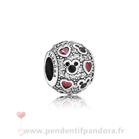 Complet Pandora Pandora Disney Charms Mousseux Mickey Coeurs Charme Clear Cz