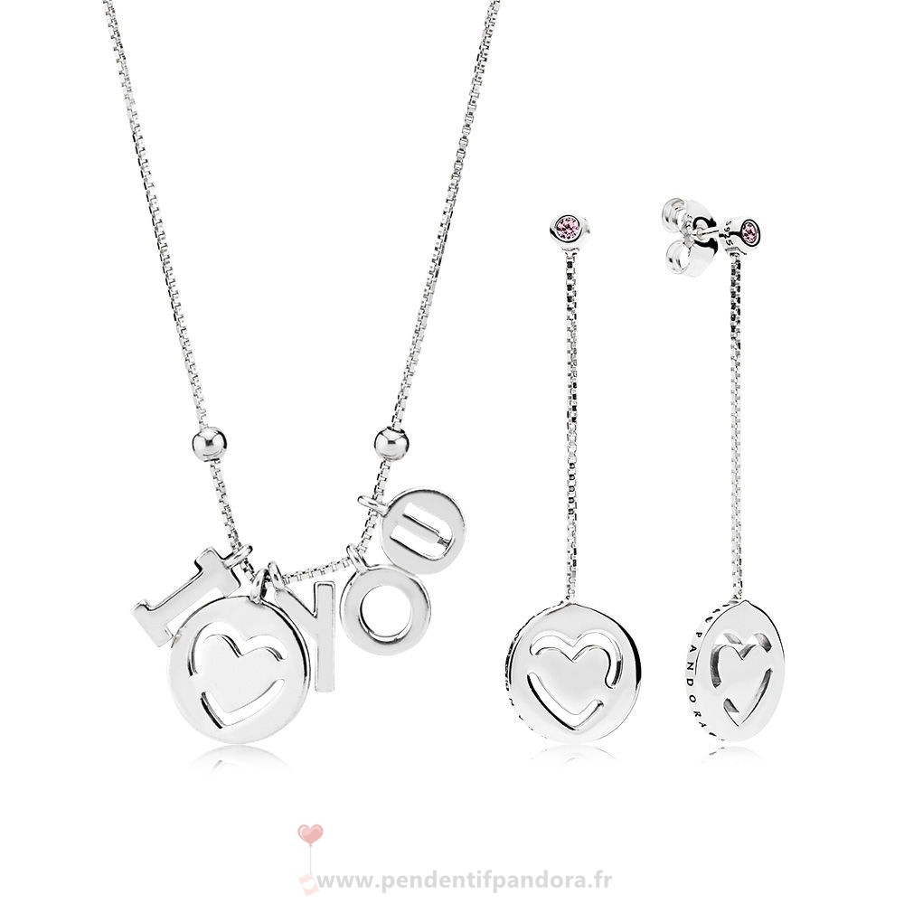 Complet Pandora I Love You Colliers And Boucles D'Oreilles Gift Set