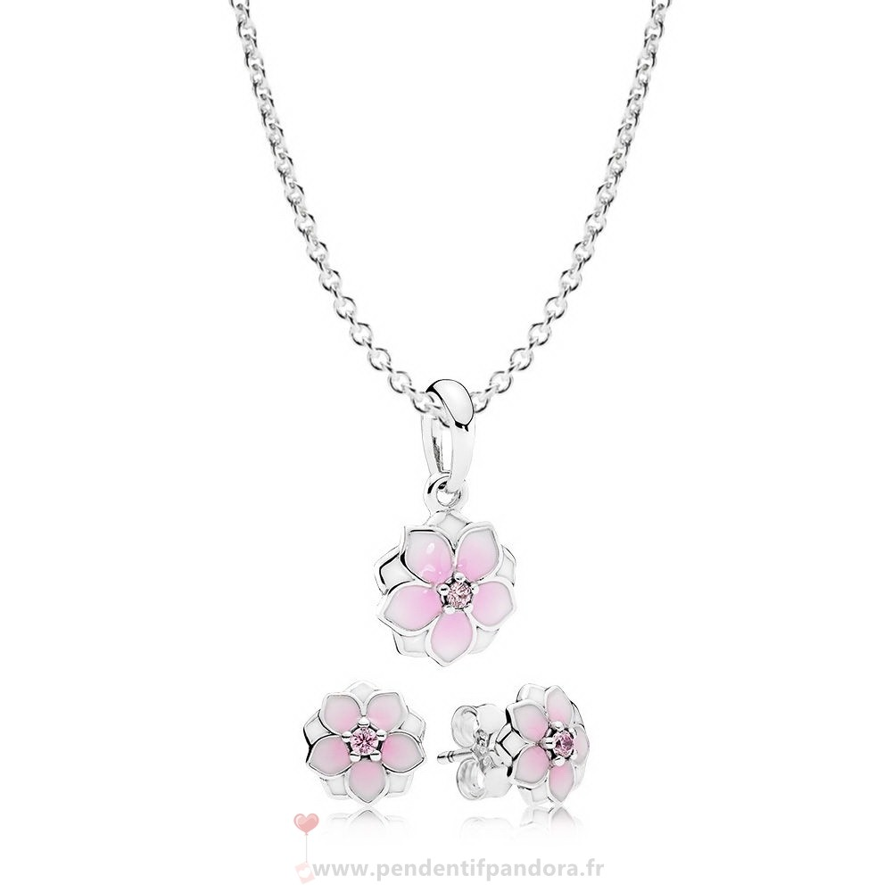 Complet Pandora Magnolia Bloom Collier Et Boucle D'Oreille Set