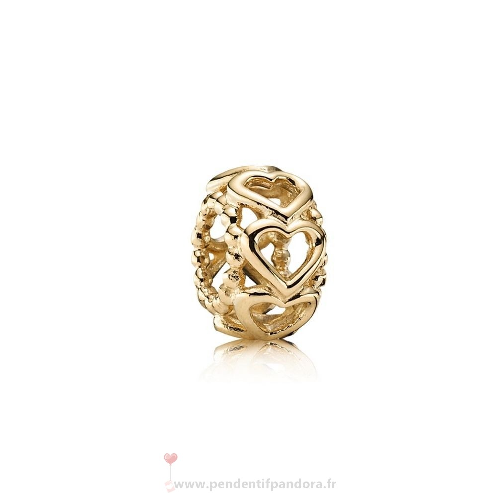 Complet Pandora Pandora Entretoises Charms Lucky In Amour Coeur Spacer 14K Or