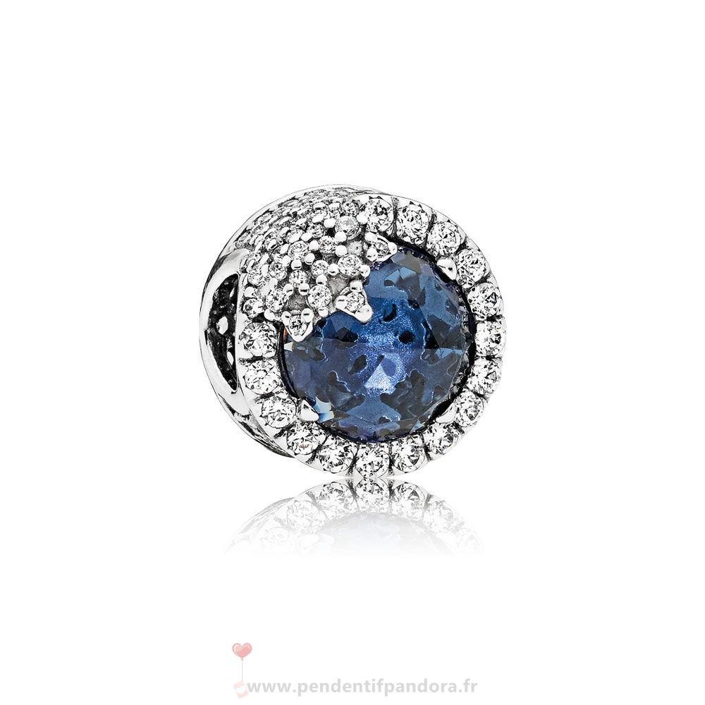 Complet Pandora Nature Charms Dazzling Flocon De Neige Twilight Blue Cristaux Clear Cz