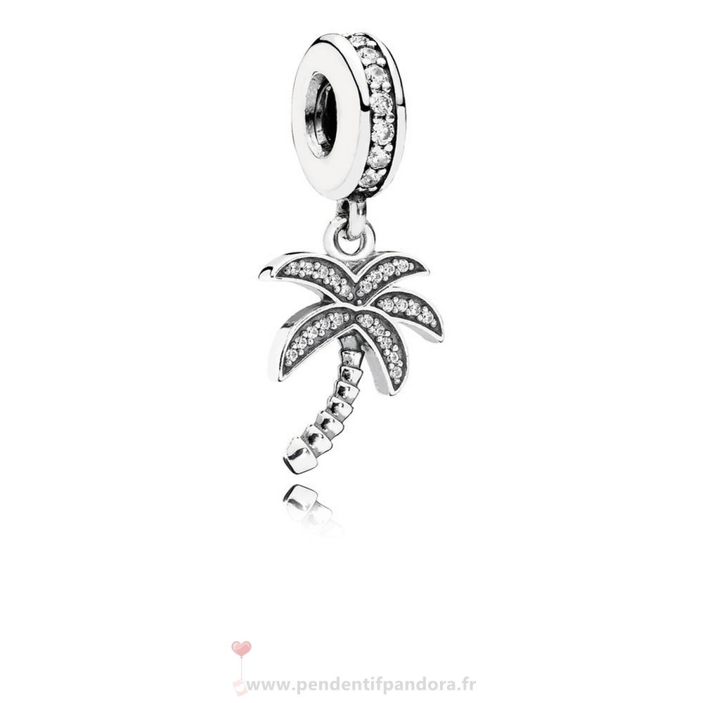 Complet Pandora Pandora Nature Charms Charmant Palmier Dangle Charme Clear Cz