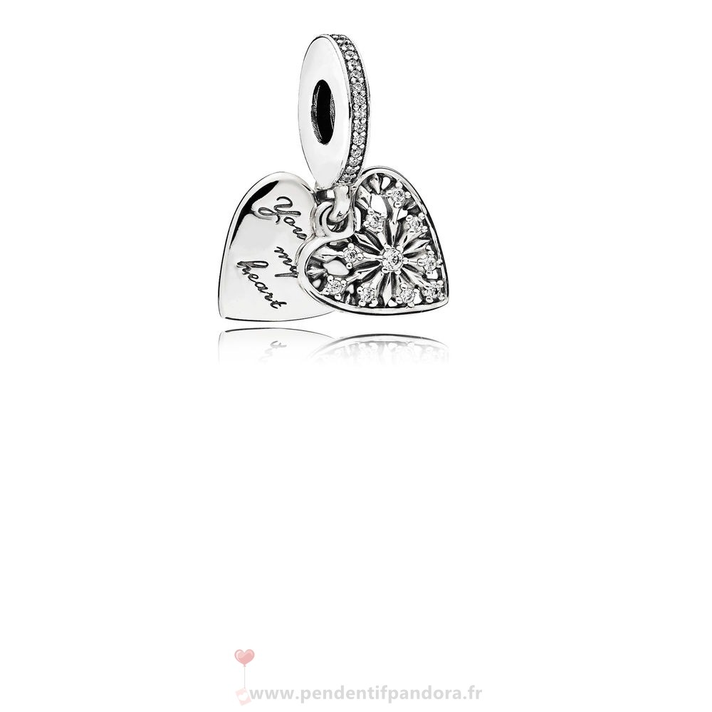 Complet Pandora Pandora Nature Charms Coeur De Hiver Dangle Charm Clear Cz