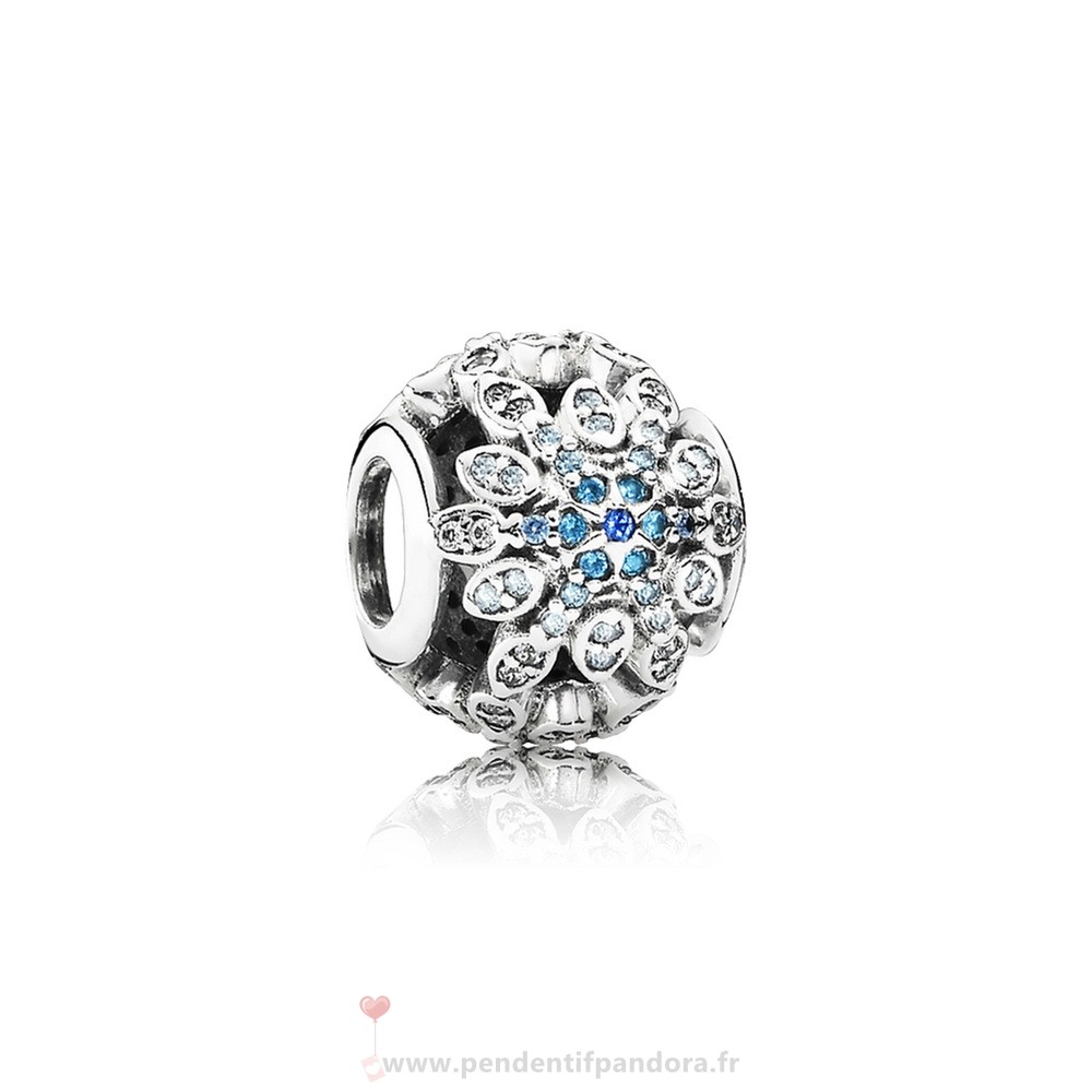 Complet Pandora Pandora Nature Charms Crystalized Flocons De Neige Charm Blue Crystals Clear Cz