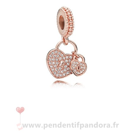 Complet Pandora Pandora Rose Amour Serrures Dangle Charm Clear Cz