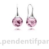 Complet Pandora Boucles D'Oreilles Morning Dew Drop Rose Cz