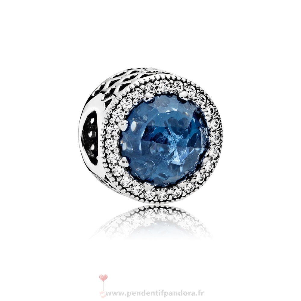 Complet Pandora Collection Coeurs De Radiant Moonlight Blue Crystal Clear Cz