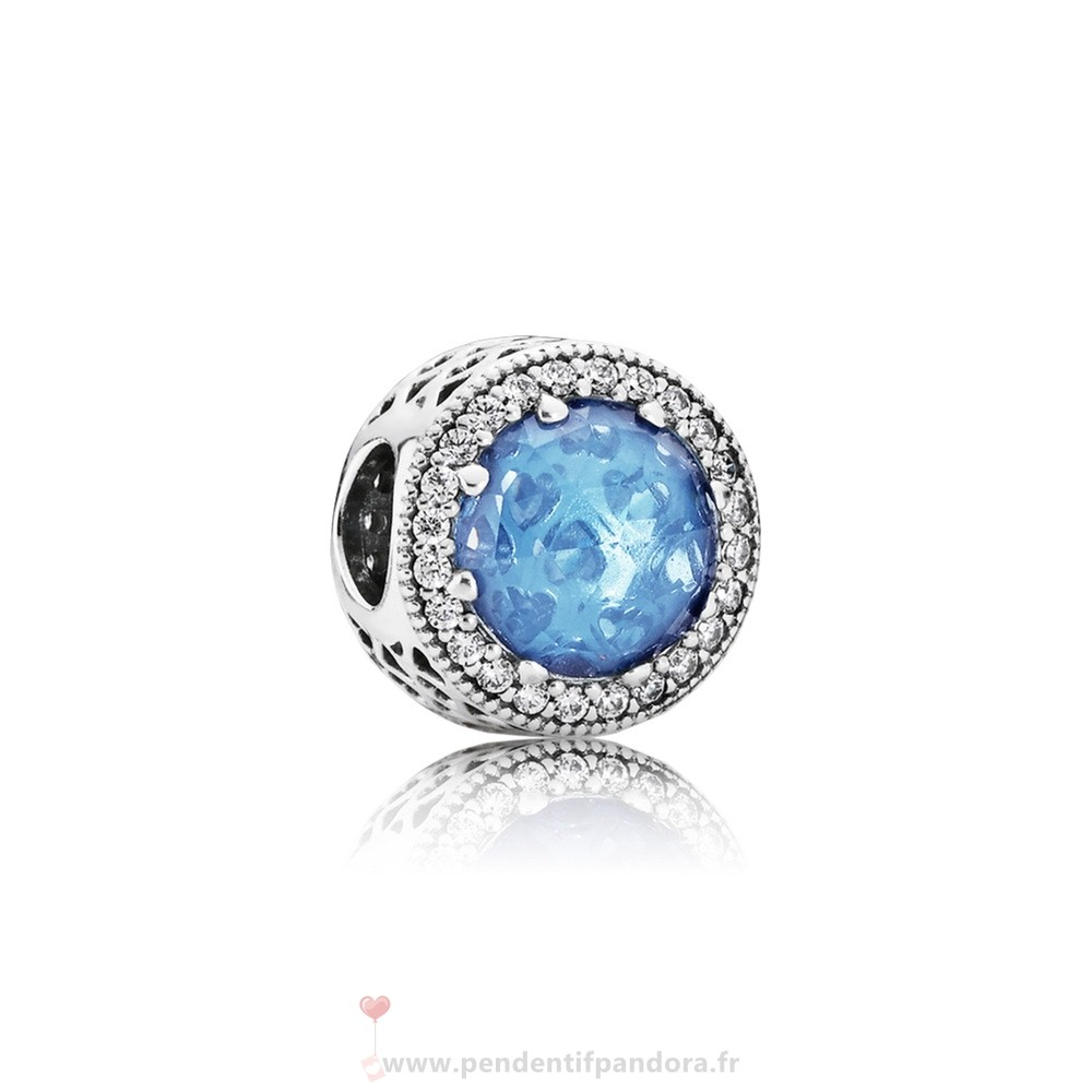 Complet Pandora Collection Coeurs De Radiant Sky Blue Crystal Clear Cz